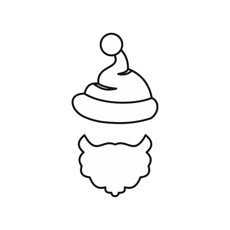 pompom: Christmas hat with pompom and beard of Santa Claus icon in outline style isolated on white background. New year symbol vector illustration