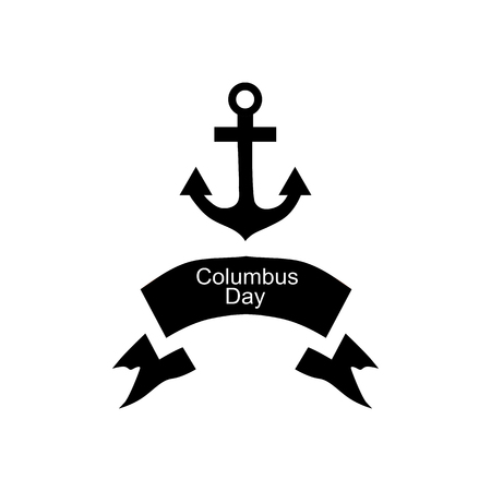 Anchor and ribbon of Columbus day icon in simple style isolated on white background. Holiday symbol vector illustration