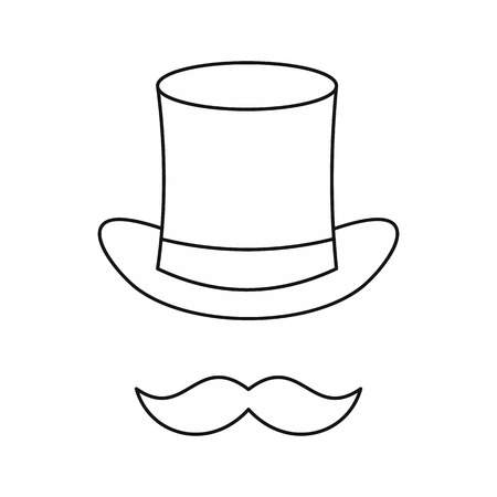 headgear: Cylinder and moustaches icon in outline style isolated on white background. Headgear symbol vector illustration