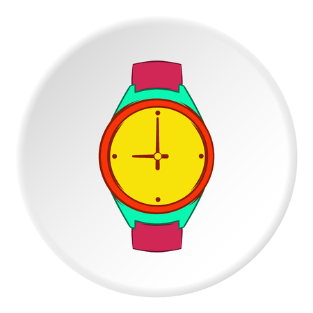 Wrist watch icon in cartoon style on white circle background. Time symbol vector illustration