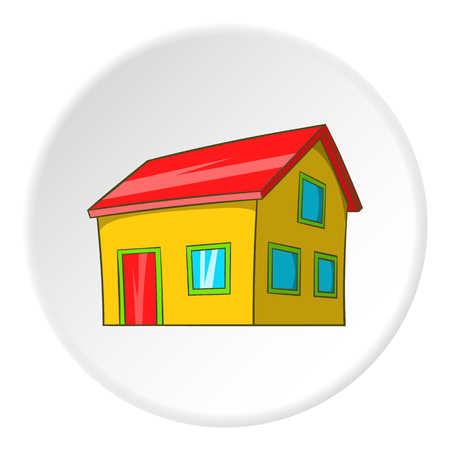 attic: House with attic icon in cartoon style isolated on white circle background. Building symbol vector illustration