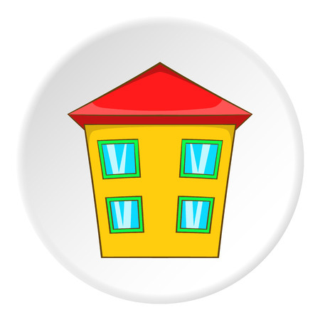 two storey house: Two storey house icon in cartoon style isolated on white circle background. Building symbol vector illustration