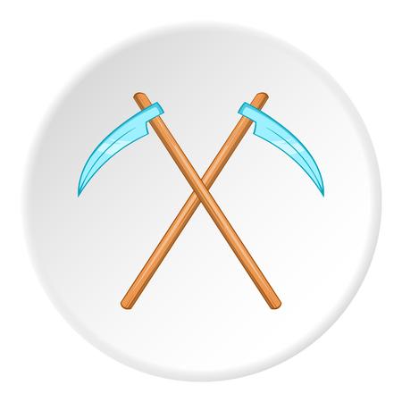 guadaña: La muerte icono guadaña en estilo de dibujos animados aislado en el fondo blanco del círculo. ilustración vectorial símbolo de miedo