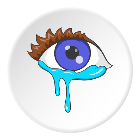 Crying eyes icon in cartoon style isolated on white circle background. Tears and sadness symbol vector illustration