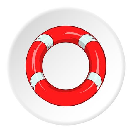lifeline: Lifeline icon in cartoon style isolated on white circle background. Salvation symbol vector illustration