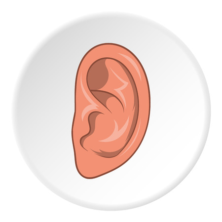 Ear icon in cartoon style isolated on white circle background. Organ hearing symbol vector illustration
