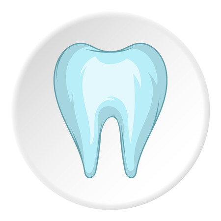 Tooth icon in cartoon style isolated on white circle background. Dentistry symbol vector illustration