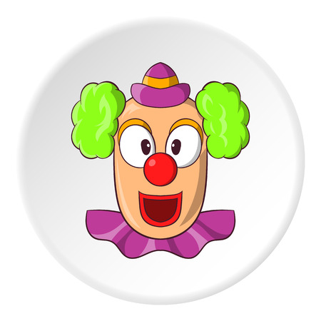 jest: Clown face icon in cartoon style isolated on white circle background. Attraction symbol vector illustration Illustration