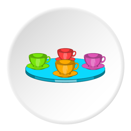 baby toys: Four mugs on table icon in cartoon style isolated on white circle background. Tea time symbol vector illustration