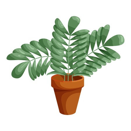 wares: Plant in ceramic pot icon in cartoon style isolated on white background vector illustration