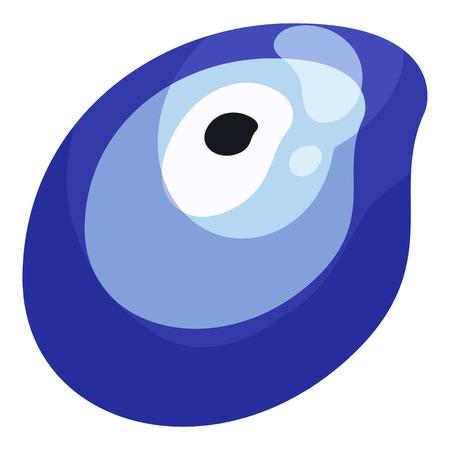 vulgar: Turkish amulet Nazar against the evil eye icon in cartoon style isolated on white background vector illustration