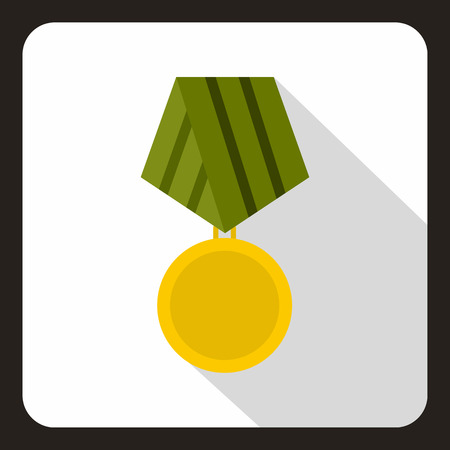Military medal icon in flat style with long shadow vector illustration