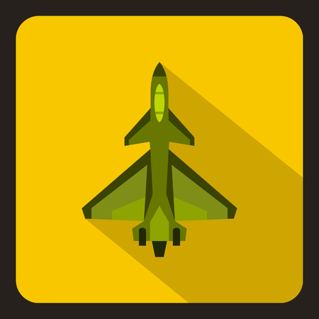 Military fighter jet icon in flat style with long shadow vector illustration Illustration