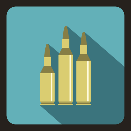 bullethole: Bullet ammunition icon in flat style with long shadow vector illustration
