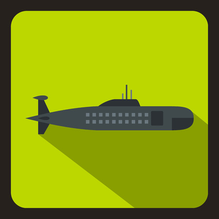 Military submarine icon in flat style with long shadow vector illustration