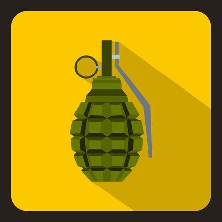 lanzamiento de bala: granada de mano, icono explosión de una bomba en el estilo plano con la ilustración vectorial larga sombra