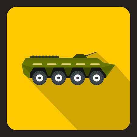 Army battle tank icon in flat style with long shadow vector illustration Illustration