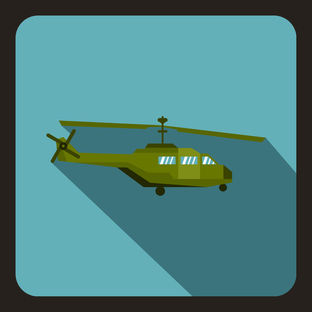 chinook: Military helicopter icon in flat style with long shadow vector illustration Illustration