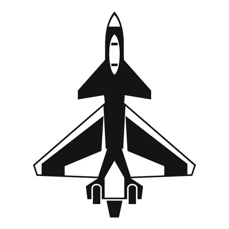 Military fighter jet icon in simple style isolated on white background vector illustration Illustration