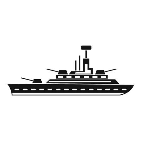 navy pier: Military warship icon in simple style isolated on white background vector illustration Illustration