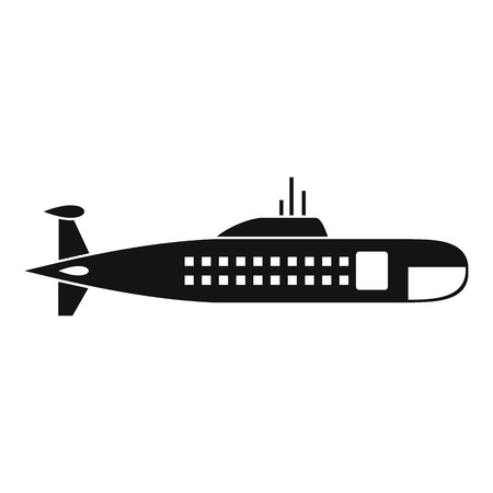 Military submarine icon in simple style isolated on white background vector illustration