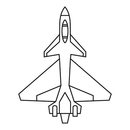 Military fighter jet icon in outline style isolated on white background vector illustration Illustration