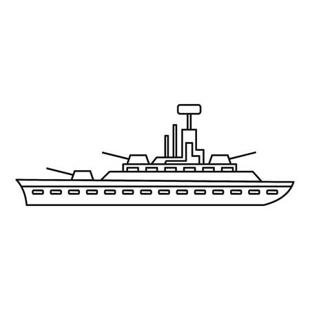 the destroyer: Military warship icon in outline style isolated on white background vector illustration