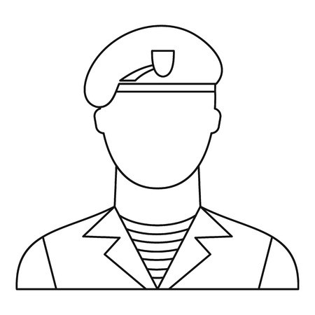 Modern army soldier icon in outline style isolated on white background vector illustration