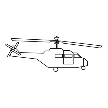 chinook: Military helicopter icon in outline style isolated on white background vector illustration