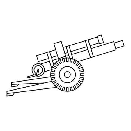 Artillery gun icon in outline style isolated on white background vector illustration Illustration