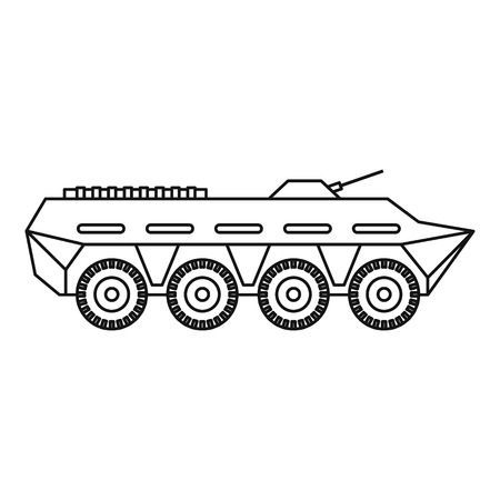 battle tank: Army battle tank icon in outline style isolated on white background vector illustration