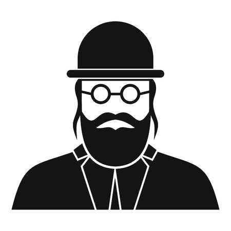 semite: Orthodox jew icon in simple style on a white background vector illustration Illustration