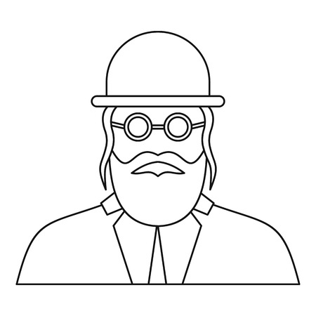 yom: Orthodox jew icon in outline style on a white background vector illustration Illustration
