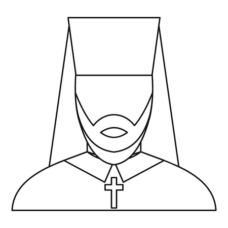 vicar: Orthodox priest icon in outline style on a white background vector illustration