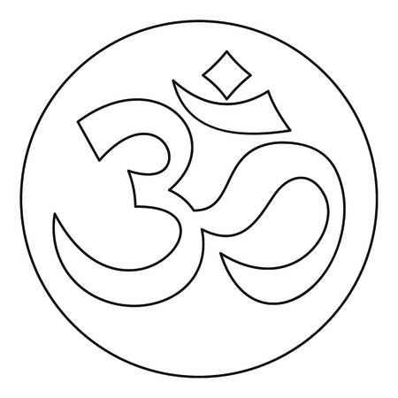 east indian: Om sign icon in outline style on a white background vector illustration