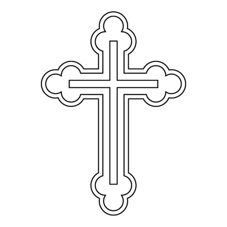 Crucifix icon in outline style on a white background vector illustration