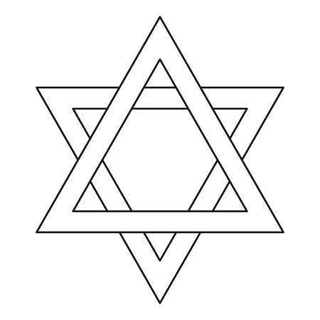 chanukkah: Star of David icon in outline style on a white background vector illustration Illustration