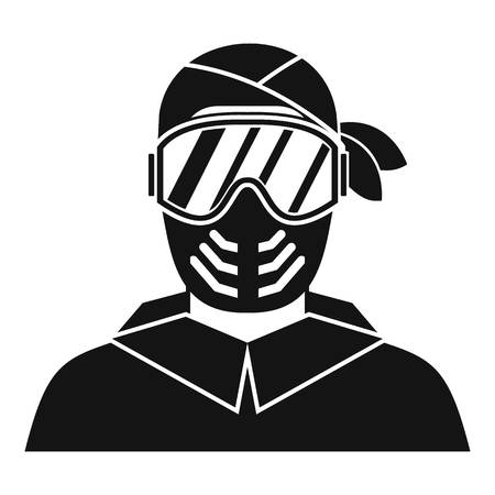 sniper: Paintball player wearing protective mask icon in simple style on a white background vector illustration Illustration