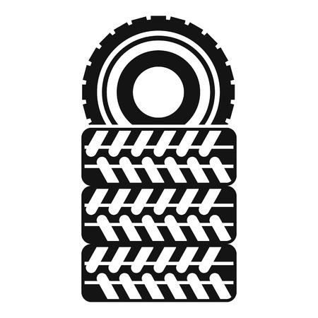 흰색 배경 벡터 일러스트 레이 션에 간단한 스타일에서 타이어 아이콘의 더미