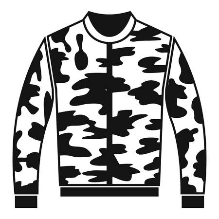 zipper hooded sweatshirt: Camouflage jacket icon in simple style on a white background vector illustration Illustration
