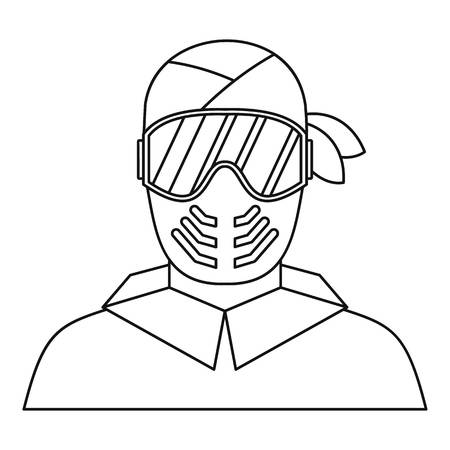 protective mask: Paintball player in protective mask icon in outline style on a white background vector illustration