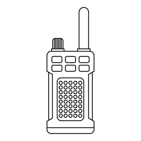 simplex: Portable handheld radio icon in outline style on a white background vector illustration