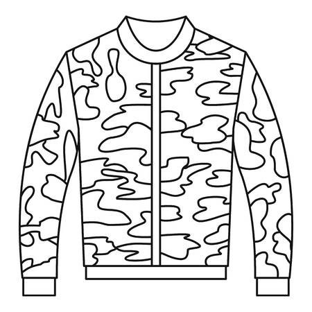 zipper hooded sweatshirt: Paintball jacket icon in outline style on a white background vector illustration