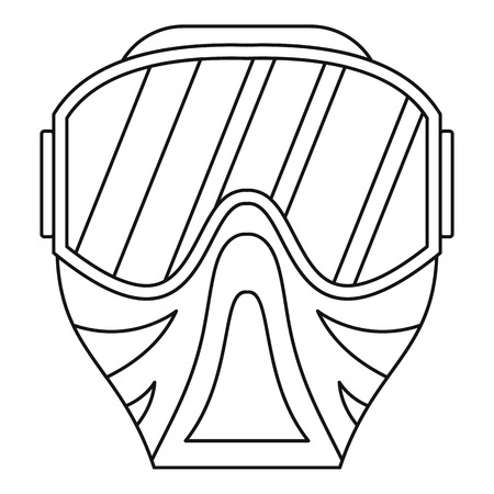 plastic soldier: Paintball mask icon in outline style on a white background vector illustration