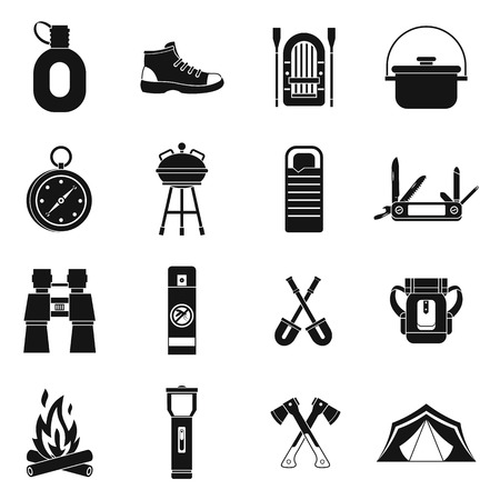 sleeping bags: Recreation tourism icons set in simple style. Camping equipment set collection vector illustration Illustration
