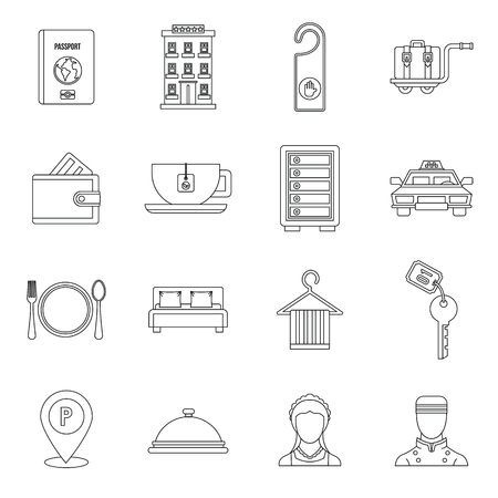 not open: Hotel icons set in outline style. Hotel accommodation services set collection vector illustration