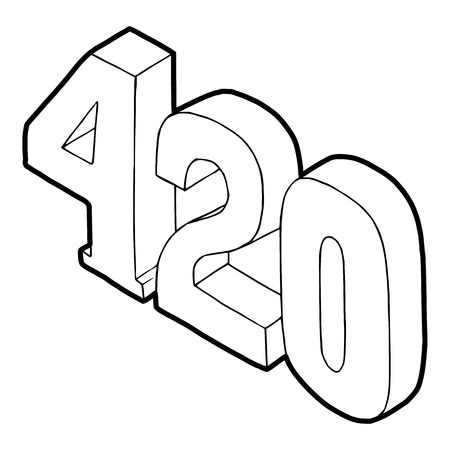reefer: 420 cannabis smoking time icon in outline style on a white background vector illustration Illustration