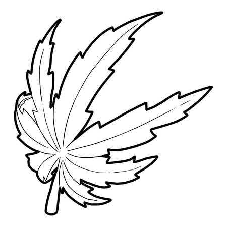 canabis: Marijuana leaf icon in outline style on a white background vector illustration