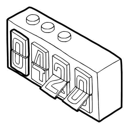 rastafari: 420 on analog flip clock icon in outline style on a white background vector illustration Illustration