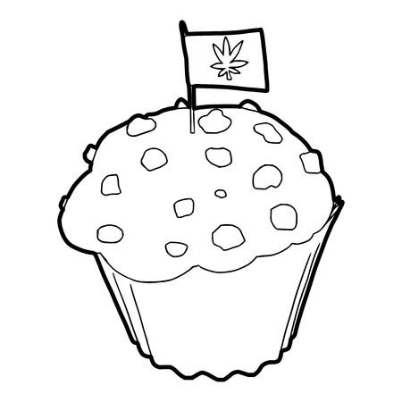 tetrahydrocannabinol: Cake and flag with marijuana leaf icon in outline style on a white background vector illustration Illustration